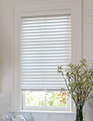 odd shaped wood and faux wood blinds