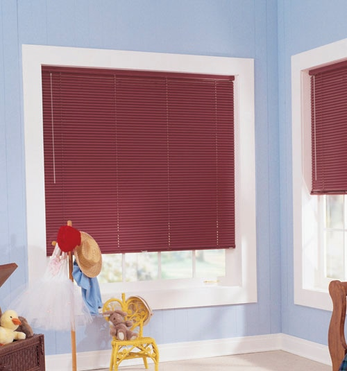 "Customiser 1"" mini blind shown in color Burgundy"