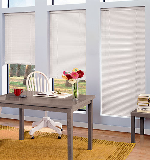 "LightBlocker 1"" mini blind shown in Snowcap White"
