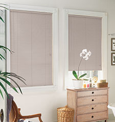 "LightBlocker 1"" mini blind shown in Desert Sand"