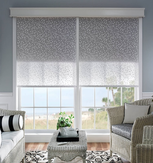 Bali® Noble Wood Cornice Shown in Snowflake with Bali® Roller Shades