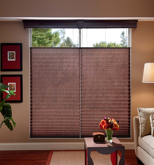 Bali® Regal Wood Cornice Shown in Deep Cherry with Bali® Pleated Shades