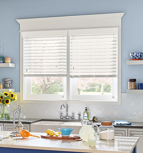 "Bali® Wood Images 2"" Composite Wood Blinds shown in Polar White"