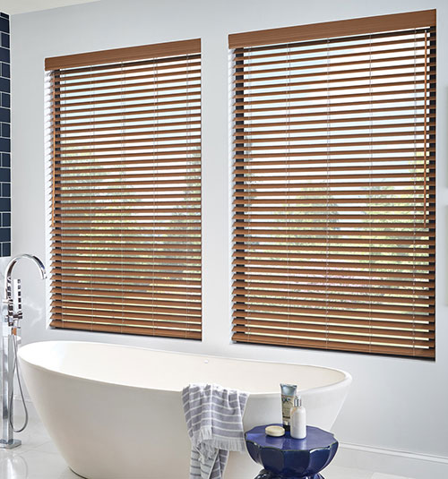 "Bali® 2"" Faux Wood Blinds: Shown in Brandy"