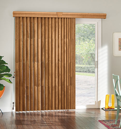 Bali Northern Heights Wood Vertical Blinds shown in Regal Oak
