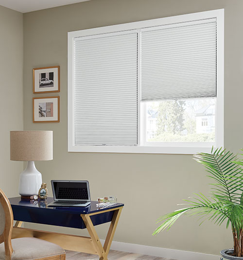 Bali Diamondcell Cellular Shades Midnight Shown In Sky Blue