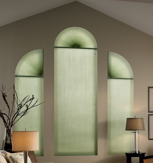 Bali DiamondCell Perfect Arch Cellular Shades: Light Filtering