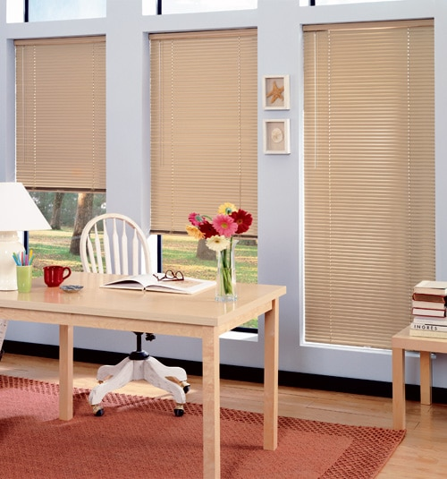 "LightBlocker 1"" mini blind shown in colour Desert Sand"