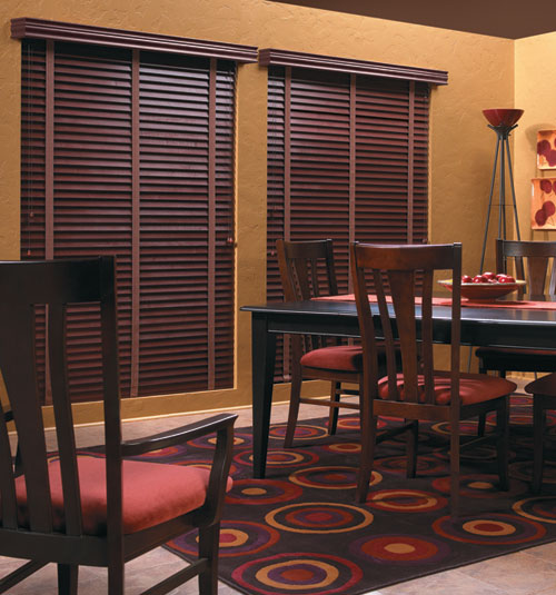 "Bali Northern Heights 2"" Wood Blinds shown in Deep Cherry"