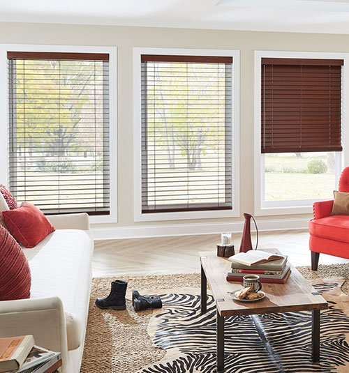 "Bali Northern Heights 1"" Wood Blinds shown in Teriyaki"