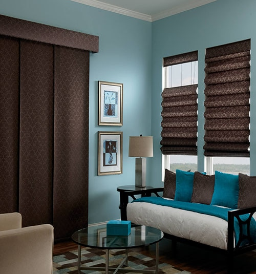 Bali® Sliding Panels shown in Damask Cocoa