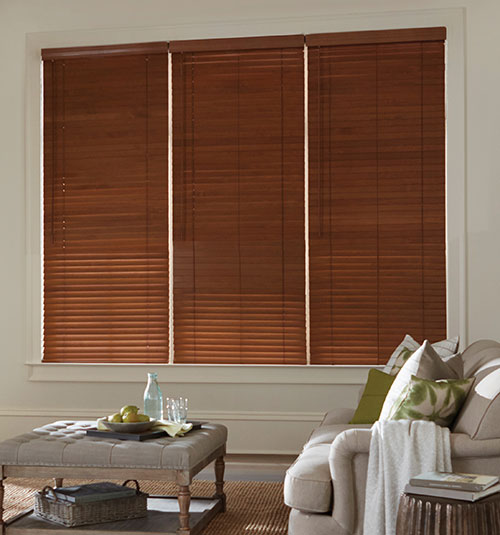 "Levolor 2"" Premium Wood Blind in Hickory with cordless lift"