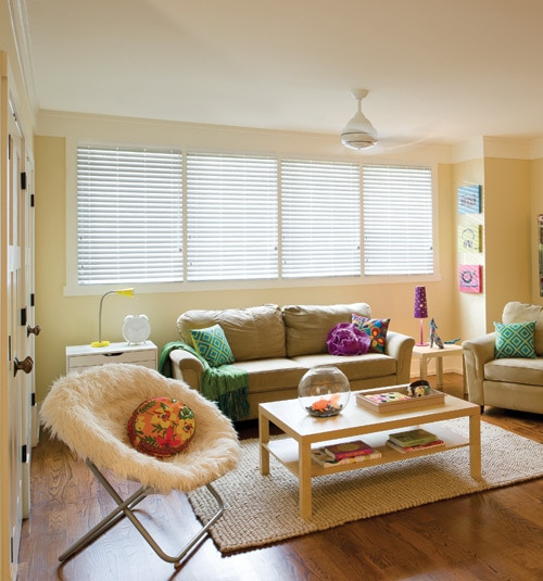 "2"" Visions™ Classic Value Faux Wood Blinds shown in Ultra White"