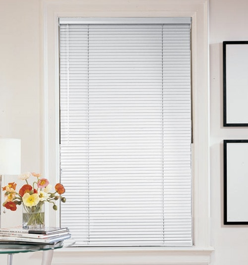 "Mark I 1 3/8"" metal blind shown in color Birch"