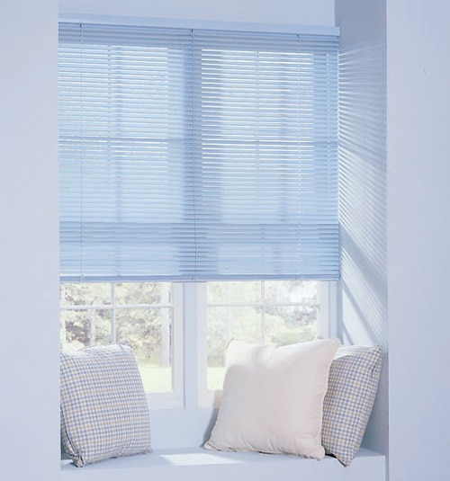 "Riviera Classic 1"" mini blind shown in color China Blue"