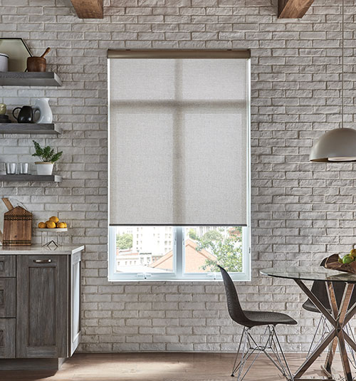 Comfortex® Envision® Motorized Roller Shades: Shown in Damascus White