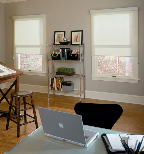 Comfortex® Solar Shades shown in Sheerweave 2390: Oyster