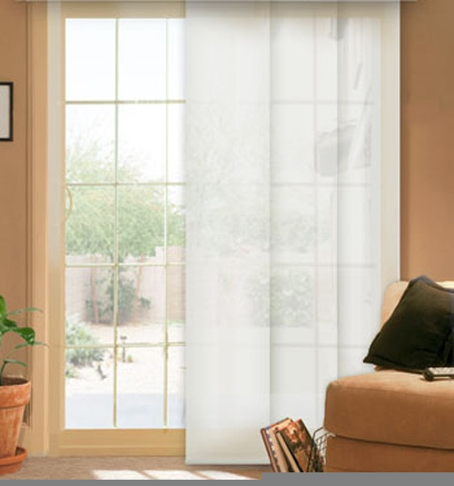 Comfortex envision panel track blinds solar shade for Panel tracks for patio doors