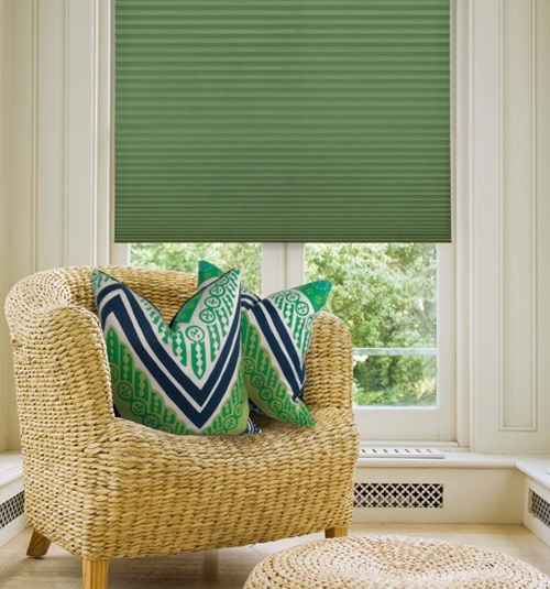 "Simply Chic 3/4"" Light Filtering Cellular Shade: Solids shown in Kellie Green"