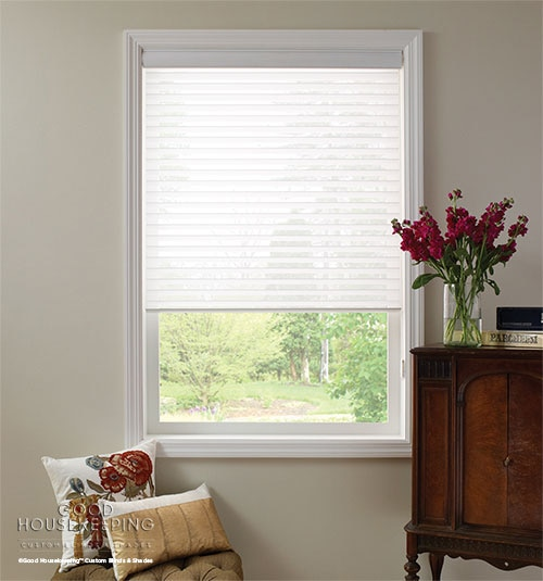 "Good Housekeeping Sheer Shadings: 3"" Light Filtering shown in Wedding Gown"