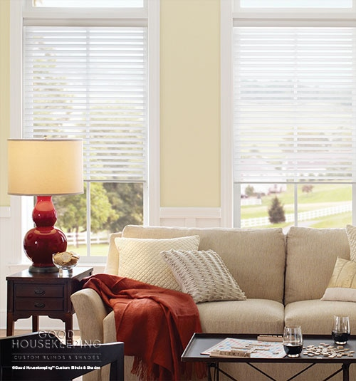"Good Housekeeping Sheer Shadings: 2"" Room Darkening shown in Pure White"