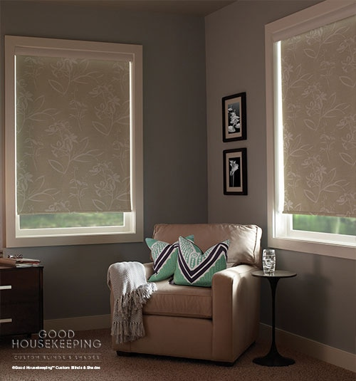 Good Housekeeping Roller Shade shown in Floral Pattern Abalone
