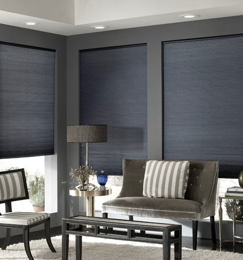 Blindsgalore® Cordless Double Cellular Shades shown in Silver