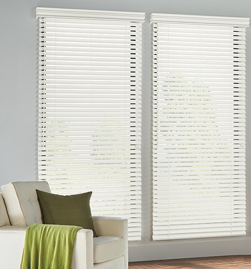 Blindsgalore® Faux Wood Blinds: Smooth Slats in White