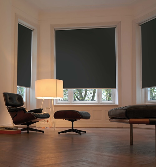 Blindsgalore® Radiant Roller Shades: Solids shown in Blackout Steel