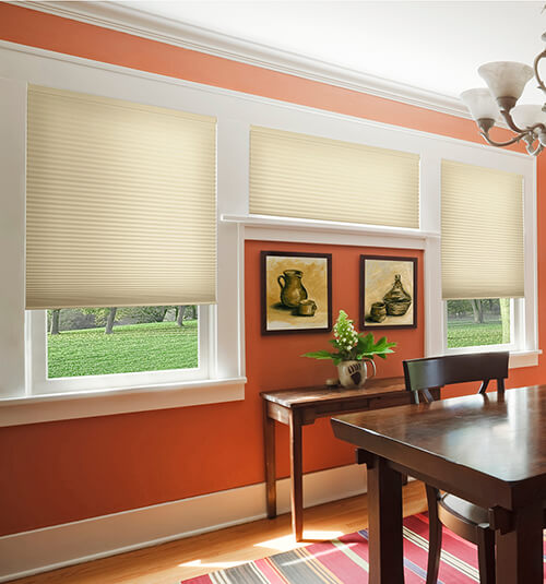 Blindsgalore® Select Motorized Cellular Shades: Shown in Parchment