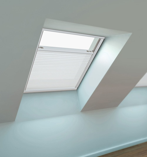 Blindsgalore Motorized Skylight Shade Light Filtering shown in color White