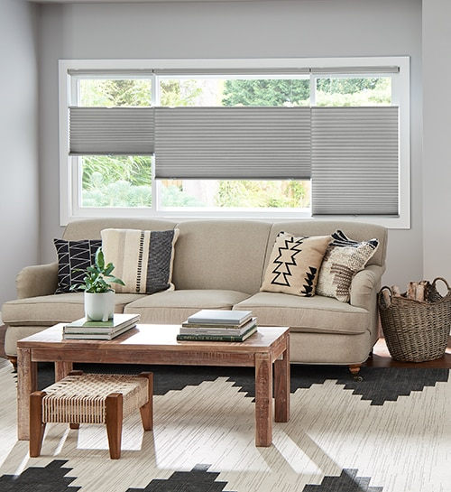 Blindsgalore® Gallery Cellular Shades: Light Filtering Single Cell shown in Greige