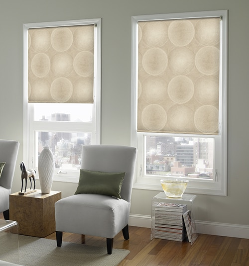 blindsgalore expressions motorized roller shades shown in circles beige pearl - Motorized Roller Shades