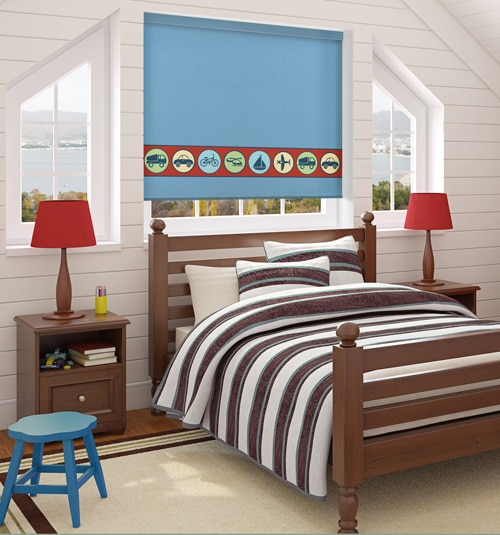 BG Kids® Roller Shade: Things That Go shown in Blue Sky