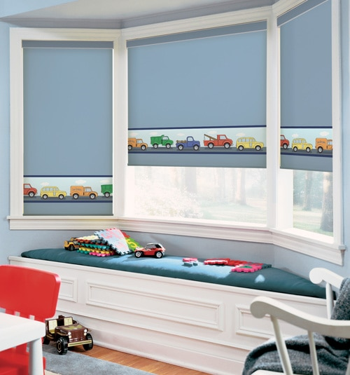BG Kids Roller Shades: Toy Trucks
