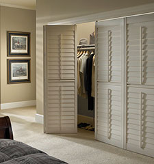 Blindsgalore Vinyl Bi-Fold Plantation Shutters: 3 1/2 Louvers