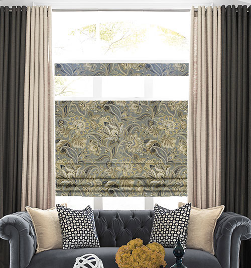 Blindsgalore® Designer Roman Shades: Shown in Abstract: Ink