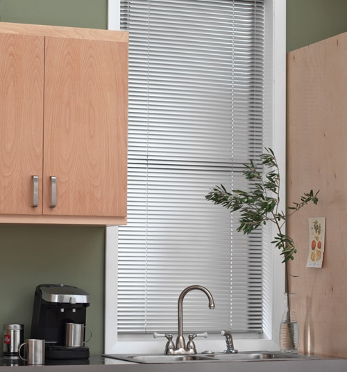 "Blindsgalore® Horizontal Blinds: 1"" 8-Gauge horizontal blind shown in color Steel"