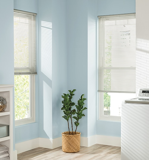 "Blindsgalore® Horizontal Blinds: 1"" Vinyl mini blind shown in color White"