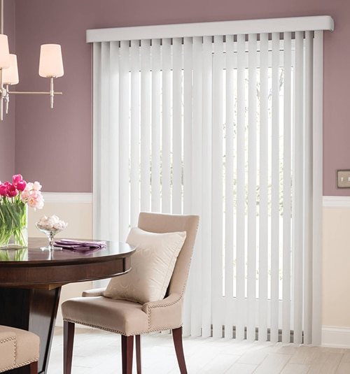 Blindsgalore® Vinyl Vertical Blinds shown in Light Gray