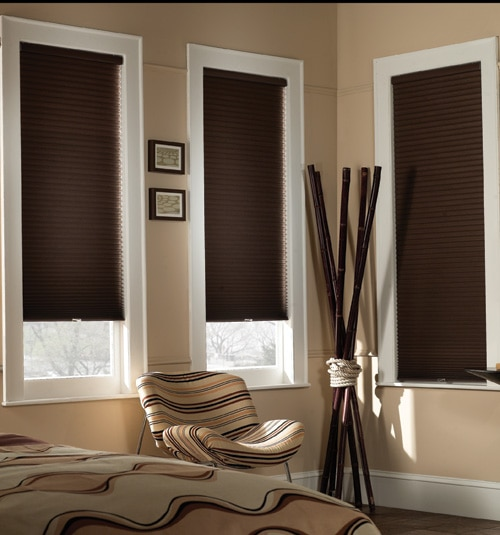 Blindsgalore® Cordless Blackout Cellular Shades shown in Chocolate