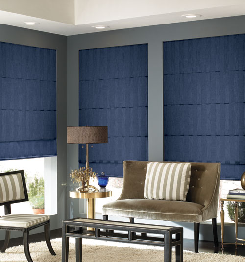 Blindsgalore® Designer Roman Shades: Shown in Subtle Stripe: Navy