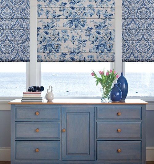 Blindsgalore® Designer Roman Shades: Shown in Cottage Rose: Cerulean with Plain Fold Style