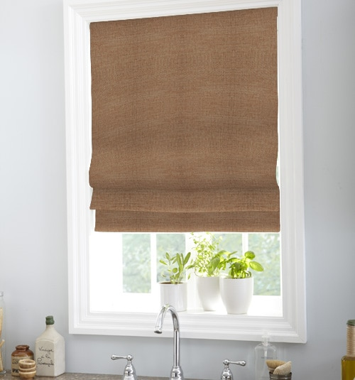 Boutique Classic Roman Shade shown in Bungalow: Henna