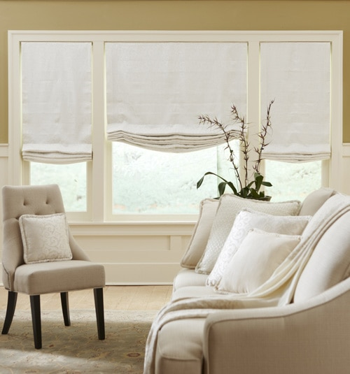 Boutique Relaxed Roman Shade Shown in Franklin: Gypsum