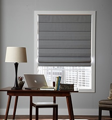 Pleat Roman Shade shown in Cabana: Birch