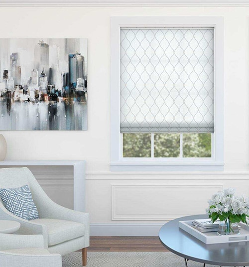 Boutique Roman Shades: Patterns shown with Relaxed shade style in Remi Stripe Sheers