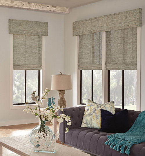 Natural Woven Shades shown in Cane: Almond