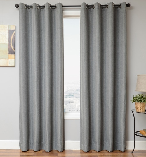 Blindsgalore Signature Drapery Panel: Textured Blackout in Light Grey