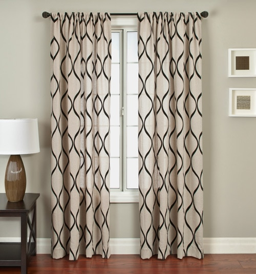 Blindsgalore Signature Drapery Panel: Ripple in Natural/Black